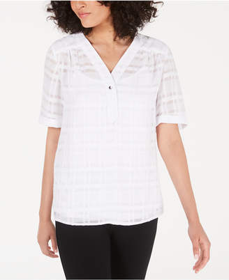 Alfani Petite Plaid V-Neck Top