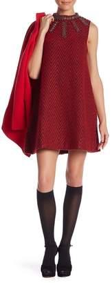 Molly Bracken Chevron Embellished Shift Dress