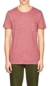 Barneys New York MEN'S LINEN-BLEND POCKET T-SHIRT - RED SIZE S