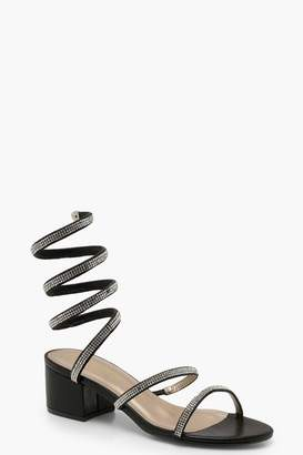 boohoo Diamante Wrap Low Block Heels