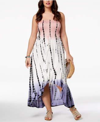 Raviya Plus Size Printed Tube Dress Ruffled Cover-Up Women's Swimsuit