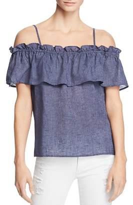 Splendid Ruffled Cold-Shoulder Top