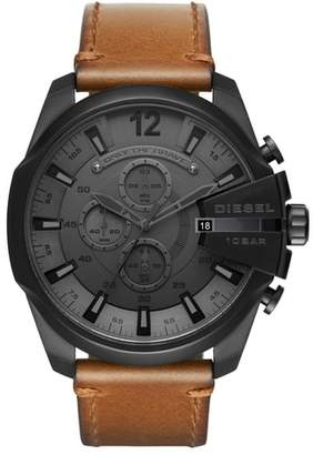 Diesel R) Mega Chief Chronograph Leather Strap Watch, 51mm
