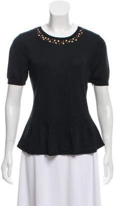 Ellen Tracy Short Sleeve Embellished Peplum Top w/ Tags