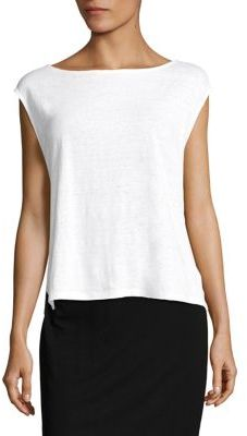 Eileen Fisher Organic Linen Jersey Boxy Shell $98 thestylecure.com