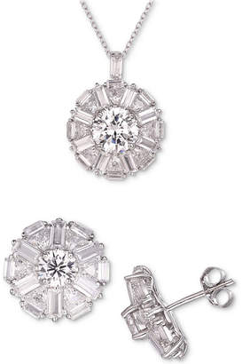Tiara 2-Pc. Set Cubic Zirconia Halo Pendant Necklace & Matching Stud Earrings