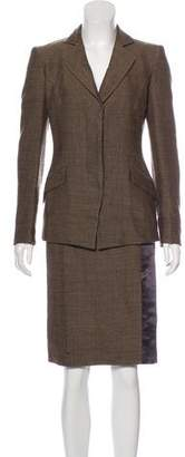 Salvatore Ferragamo Wool Chevron Print Skirt Suit