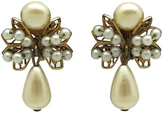 One Kings Lane Vintage Ornate Faux-Pearl Teardrop Earrings - Thanks for the Memories