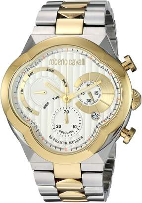 Roberto Cavalli by Franck Muller (PU5E5 by Franck Muller Men's 'CLOVER' Quartz Stainless Steel Casual Watch, Color:Two Tone (Model: RV1G028M0106)