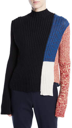 Calvin Klein Mock-Neck Long-Sleeve Patchwork Ribbed Wool Sweater