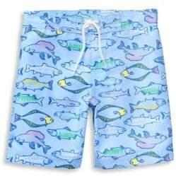 Janie and Jack Baby Boy's, Little Boy's& Boy's Fish Print Swim Trunks