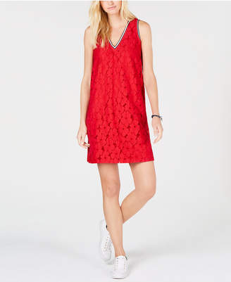 Tommy Hilfiger Floral-Lace Sleeveless Dress