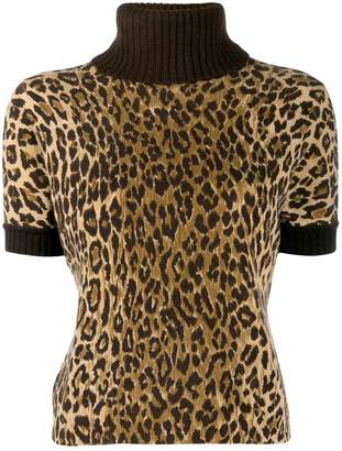Dolce & Gabbana Pre-Owned cashmere leopard print knit top