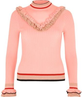 River Island Womens Pink ribbed knit V frill jumper