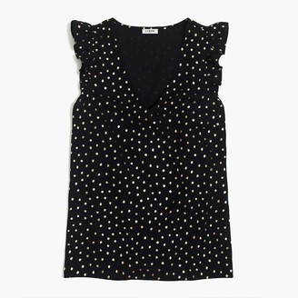 J.Crew Printed sleeveless ruffle top