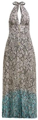 Heidi Klein Snake Print Halterneck Maxi Dress - Womens - White Multi