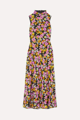 Saloni Gemma Open-back Floral-print Silk Crepe De Chine Midi Dress - Pink