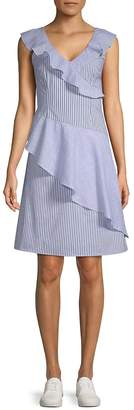 Collective Concepts Women's Striped Asymmetrical Ruffle Dress