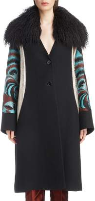 Dries Van Noten Mixed Print Coat with Removable Faux Fur Collar