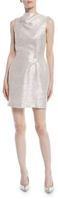 Roland Mouret Sleeveless Tucked Neckline Striped Metallic Mini Cocktail Dress