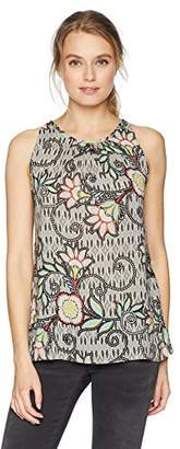 True Grit Dylan by Women's Soft Multi Color Rayon Vintage Asteria Print Sleeveless Top