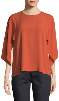Eileen Fisher Cape-Sleeve Silk Top, Petite