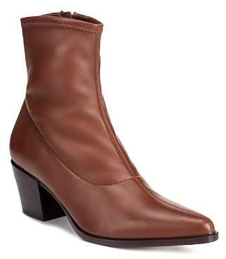 Vince Women's Hayek Stretch Leather Block Heel Booties
