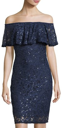 Marina Off-the-Shoulder Short Lace Dress, Navy $119 thestylecure.com