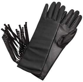 MANGO Fringed leather gloves