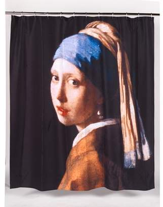 """Carnation Home Fashions Girl with the Pearl Earring"""" Museum Collection 100% Polyester Fabric Shower Curtain, Size 70""""x72"""""""