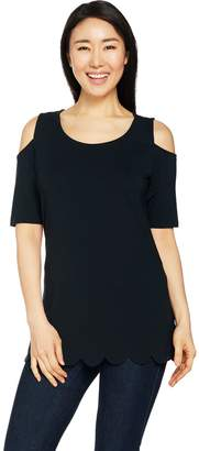Isaac Mizrahi Live! Cold Shoulder Knit Tunic with Scallop Hem