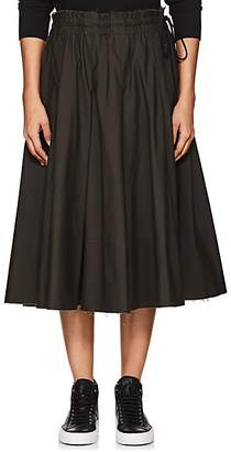 Yohji Yamamoto Regulation Women's Pleated Cotton Canvas Skirt - Khaki
