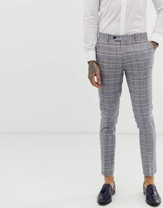 Gianni Feraud skinny fit linen blend check suit pants