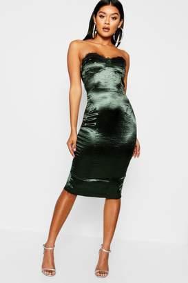boohoo Satin Lace Trim Bustier Midi Dress