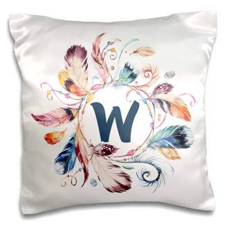 3dRose Boho Feather Wreath With A Monogram W Initial Watercolor Design - Pillow Case, 16 by 16-inch