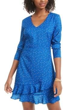 Material Girl Juniors' Printed Ruffle-Hem Dress, Created for Macy's