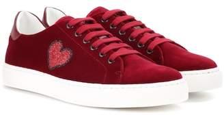 Anya Hindmarch Glitter Heart velvet low-top sneakers