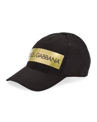 Dolce & Gabbana Men's Baseball Cap with Metallic Logo Tape
