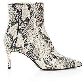 Schutz Women's Bette Snakeskin-Embossed Leather Ankle Boots