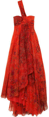 One-shoulder Embellished Printed Silk-chiffon Gown - Red