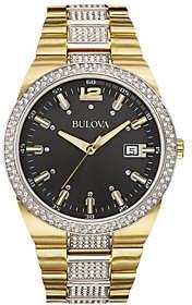 Bulova Men's Stainless Goldtone Crystal Bracelet Watch
