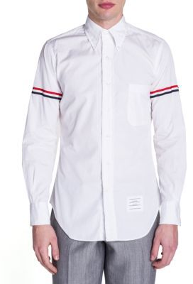 Thom Browne Button-Down Two-Toned Armband Button-Down Shirt $410 thestylecure.com