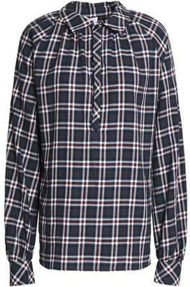 Stella Jean Pussy-Bow Checked Cotton Blouse