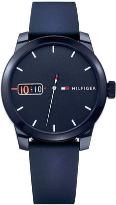 Tommy Hilfiger Men's Blue Silicone Strap Watch 42mm, Created for Macy's