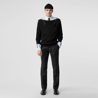 Burberry Zip Detail Linen Blend Pleated Trousers