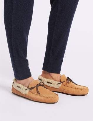 Marks and Spencer Suede Moccasin Slippers with Freshfeet