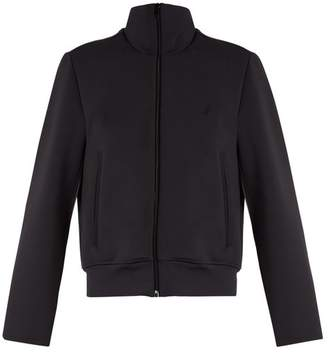 Balenciaga Logo Embroidered Scuba Jersey Jacket - Womens - Dark Grey