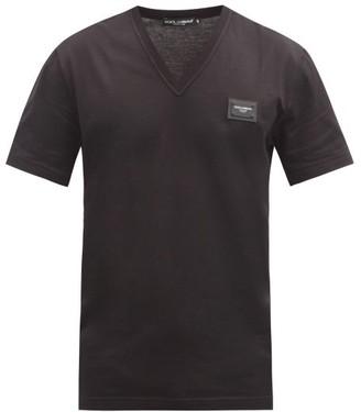 Dolce & Gabbana Logo Patch V Neck Cotton T Shirt - Mens - Black