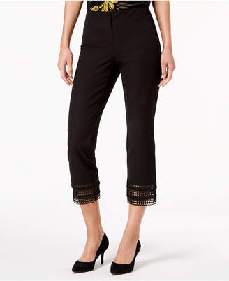Alfani Cropped Crochet-Hem Pants, Created for Macy's