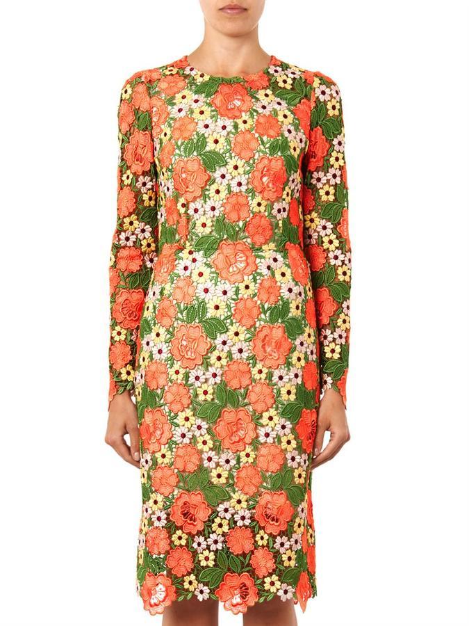 Dolce & Gabbana Floral macramé lace dress